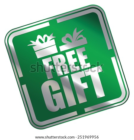 Green Metallic Square Free Gift Icon, Sticker, Banner, Tag, Sign or Label Isolated on White Background - stock photo