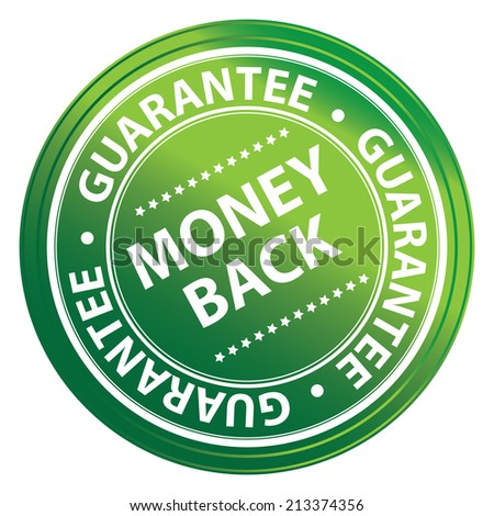 Green Metallic Style Money Back Guarantee Icon, Badge, Label or Sticker for Product Warranty, Quality Assurance, CRM or Customer Satisfaction Concept Isolated on White Background  - stock photo