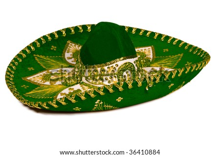 Green mexican sombrero isolated on whit - stock photo