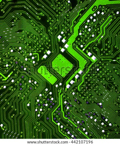 green microchip pcb board integrated circuit electric computer parts chip processor abstract background  - stock photo