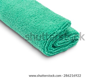 Green microfiber duster isolated on white background - stock photo