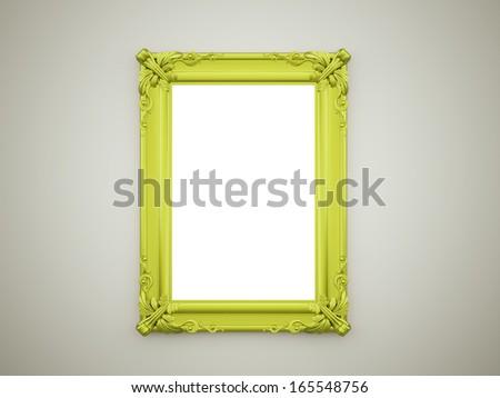 Green mirror frame vintage concept rendered on dark background - stock ...