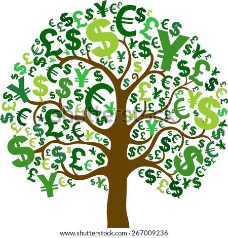 Green money tree isolated on White background. Illustration - stock photo