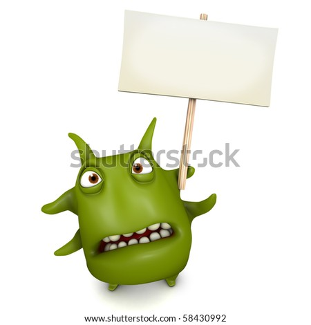 green monster  holding blank board - stock photo