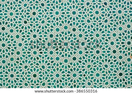 green moroccan tiles - stock photo