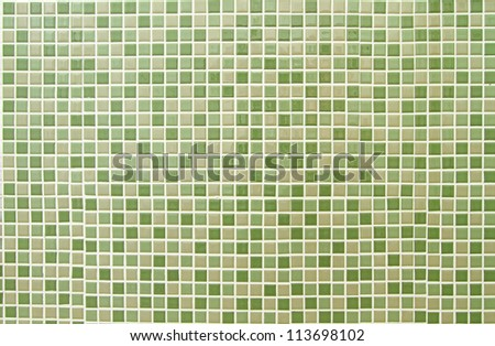Green mosaic tiles background - stock photo