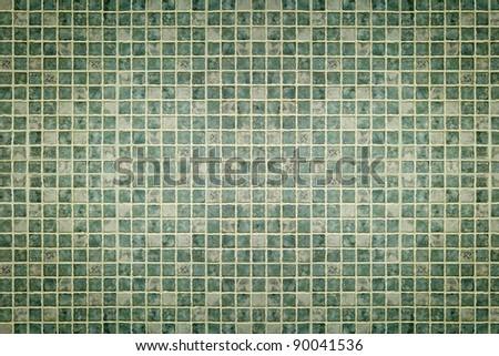 Green mosaic tiles texture - stock photo