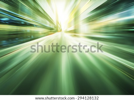 green motion blur background - stock photo