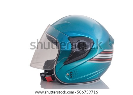 Green motorcycle helmet Isolated on white background