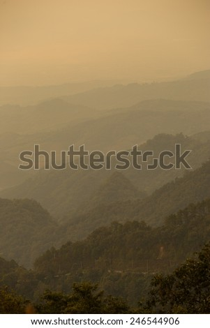 green mountain in north of Thailand - stock photo