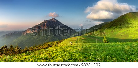 Green mountain panorama - stock photo