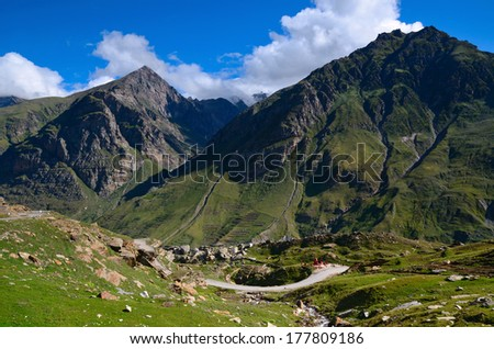Green mountains in Lahaul valley in the Indian state of Himachal Pradesh on the high altitude Manali-Leh road