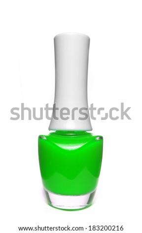 green nail polish bottle on white background - stock photo