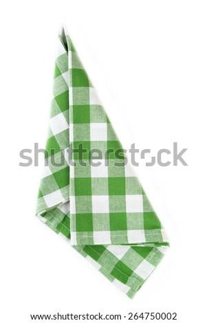 Green napkin isolated on white - stock photo