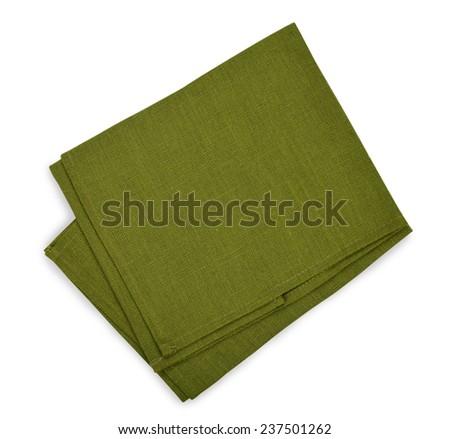 Green napkin isolated on white background - stock photo