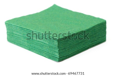 green napkins isolated on white background - stock photo
