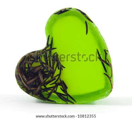 Green natural soap with heart shape