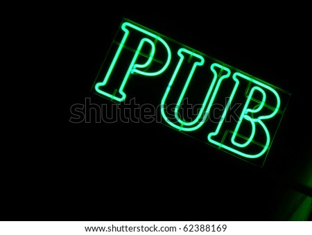 Green neon sign of a Pub - stock photo