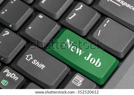 Green new job key on keyboard - stock photo