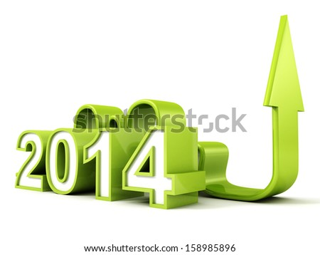 green 2014 new year business arrow growing up concept - stock photo