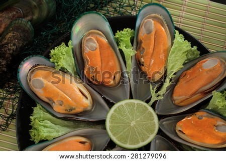 Green New Zealand mussels bowl - stock photo