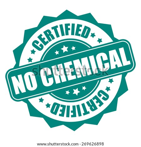 Green no chemical certified sticker tag sign icon label isolated on white