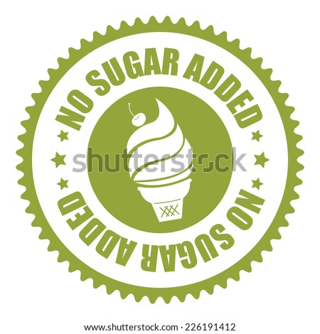 Green No Sugar Added Icon, Sticker, Badge or Label Isolated on White Background  - stock photo