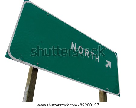 green north sign with arrow isolated on white background