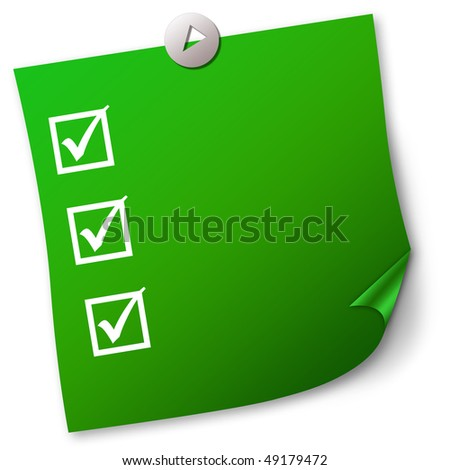 Green note paper - stock photo