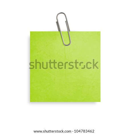 Green Note paper with paper clip on white background. - stock photo