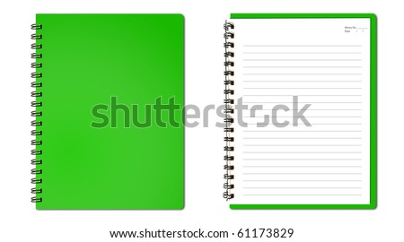 Green notebook (blank paper) - stock photo