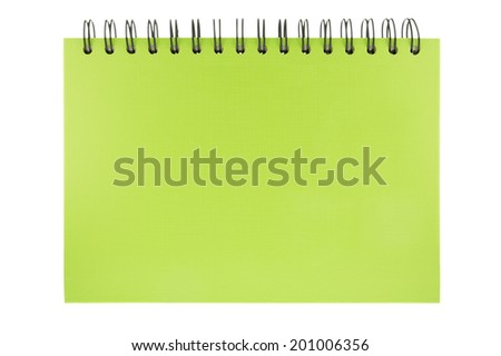 Green notebook paper isolated on white background