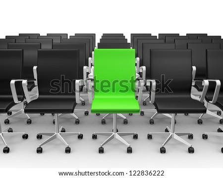 Green office chair outstanding from black ones, isolated on white background. - stock photo