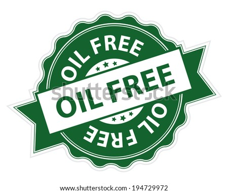 Green Oil Free Stamp, Label, Sticker, Icon or Badge Isolated on White Background