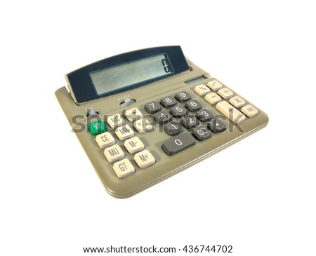 Green old calculator isolated on white background.Old calculator - stock photo