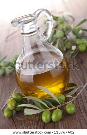 green olive and carafe - stock photo