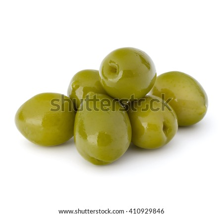 Green olives fruits isolated on white background cutout - stock photo