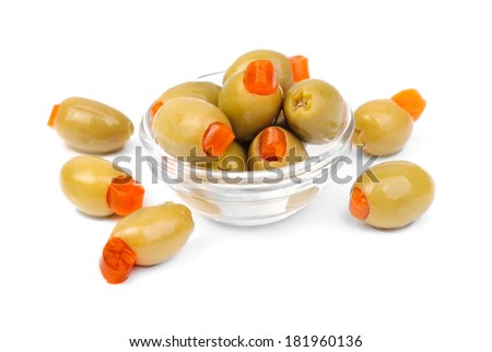 green olives in glass  isolated on white   background - stock photo
