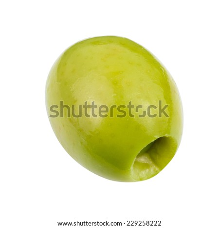 green olives isolated. Clipping Path  - stock photo