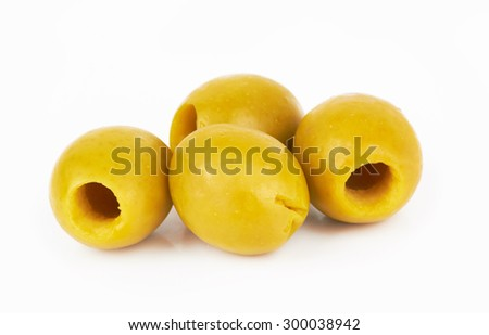 green olives isolated on a white background - stock photo