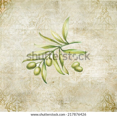 Green olives vintage card in provence style. - stock photo
