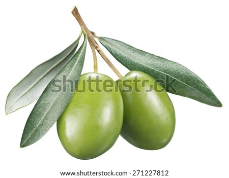 Green olives with leaves on a white background. File contains clipping paths. - stock photo