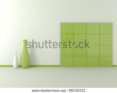 green on a white wall tiles - stock photo