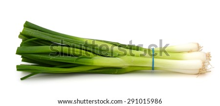 green onions on white background  - stock photo