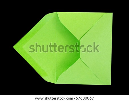 Green open envelope, isolated photo. - stock photo