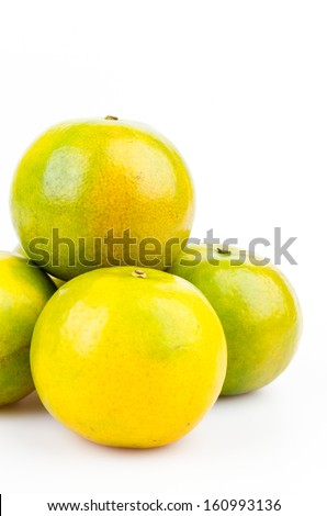 Green orange on isolated white background
