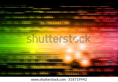 green orange pink illustration of technology internet network computer background with binary number, style background. infographics. Information. motion blur. pixel. text box. motion move zoom blur - stock photo