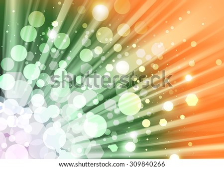Green,orange ray lights bokeh glitter defocused abstract background - stock photo
