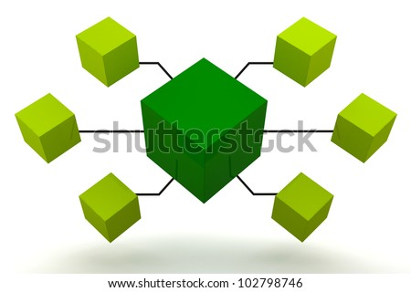 Green Organization Box Expand 3D render - stock photo