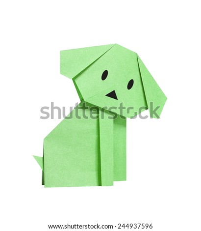 green origami dog from recycled paper
